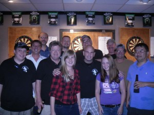 The regulars at the Puddlin' Duck for Wednesday night darts with the Pointless Dart League