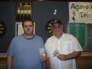 Except for the drive (an hour and 20 minutes from my house) the VFW is Aiken is always a great venue for good darts and good times.  You can see how happy my partner David was to be taking home some money!