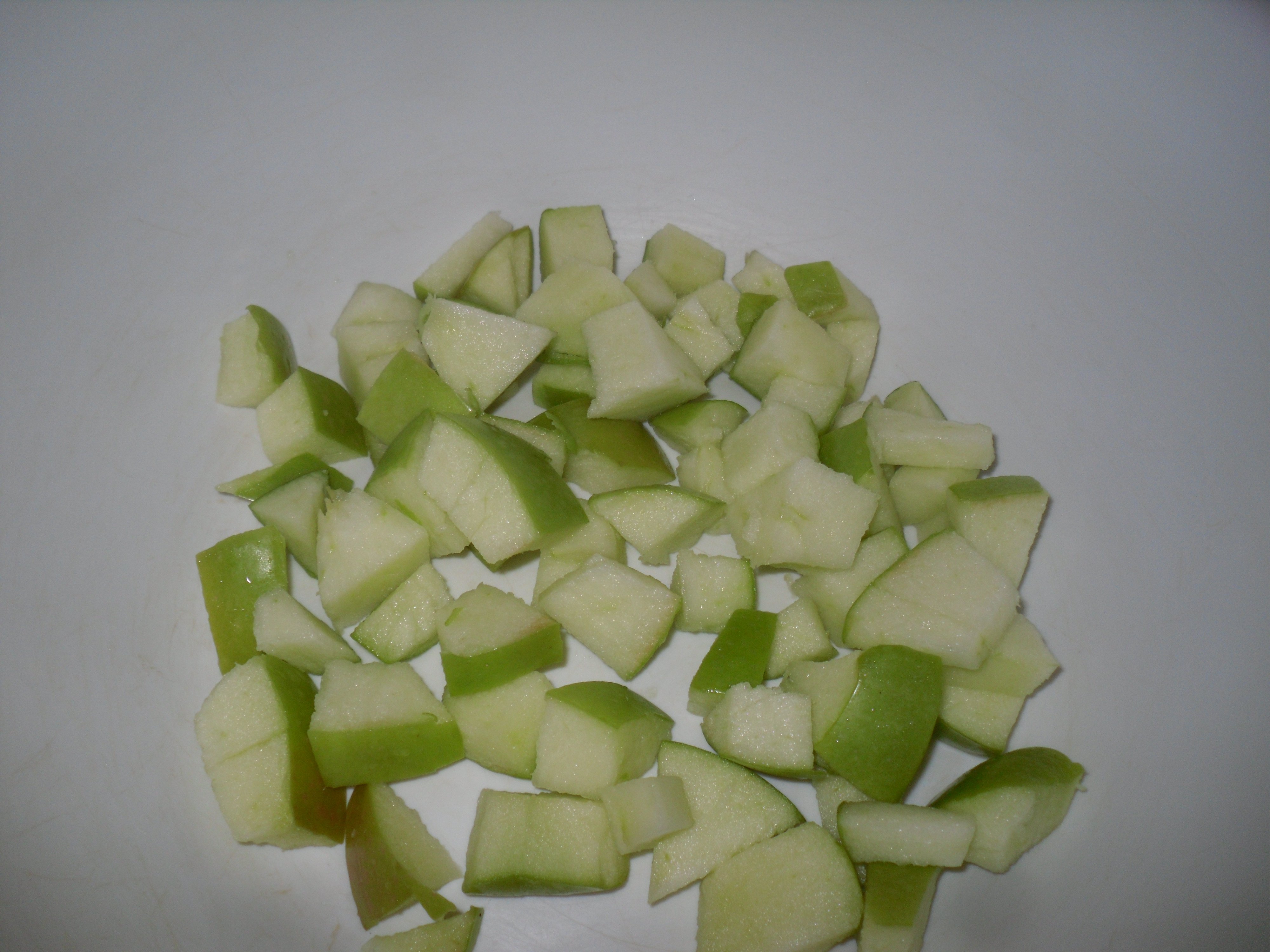 ...then I cut up a granny smith apple...