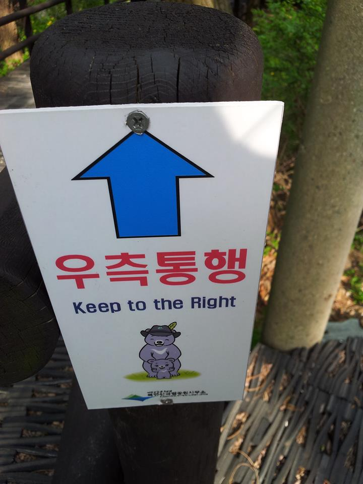 "I also noticed that President Park has been doing some politicking along the trail.  As I interpret this sign, it means ""to move forward towards a bright future, vote conservative!"""