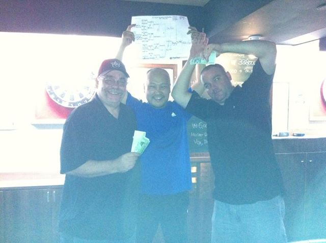 After a long hard night of drinking darting, I came away with second place money, no small thanks to a great local darter named Tony.  I'm not sure just how many vodka bombs he insisted we drink, but it was a lot!
