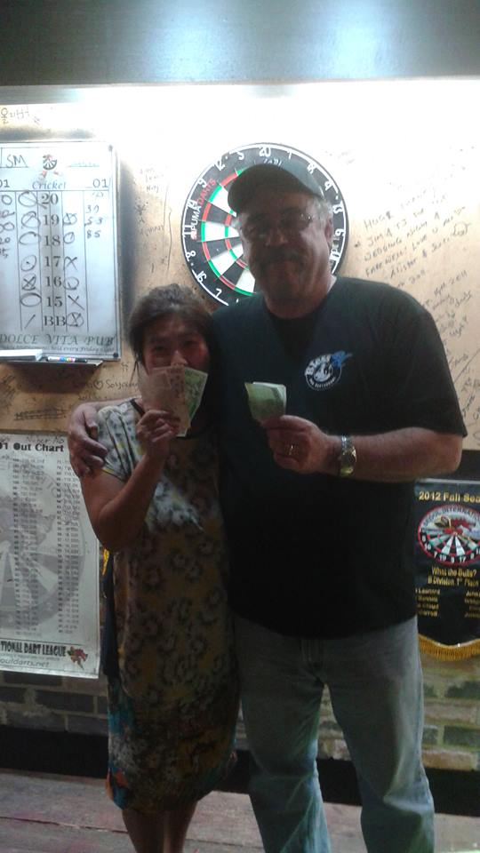 Friday night darts at Dolce Vita resulted in a 1st place finish for me and my partner Su Mi and enriched us to the tune of W20,000 each.