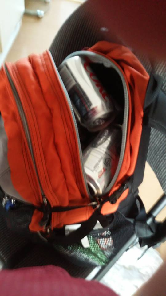 A resupply of diet Cokes.  I squeezed 36 cans into my backpack, a new record, but quite the backbreaker.  Why 36 cans all at once you ask?  Because they were three 12-packs for ten bucks, or $4.50 each.  Yeah, I'm a cheap bastard.
