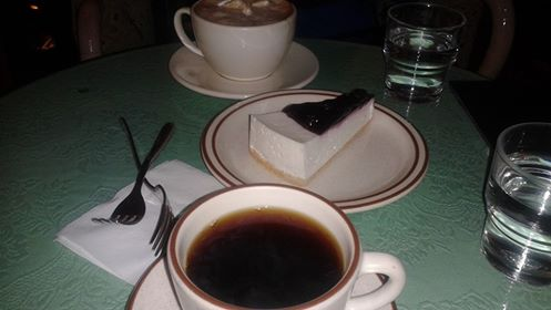Coffee and cheesecake was our dessert...