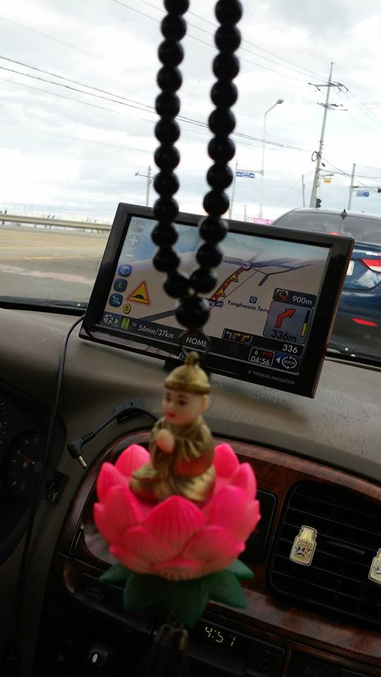And then it was time to make the drive home, but we brought Buddha along for some good luck.  We still got lost though.  I guess even the Buddha can't make sense of my damn GPS...