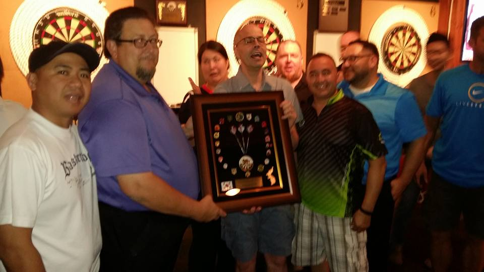 We did take time out to give Lonnie a big thank you for his many years service to the dart league...