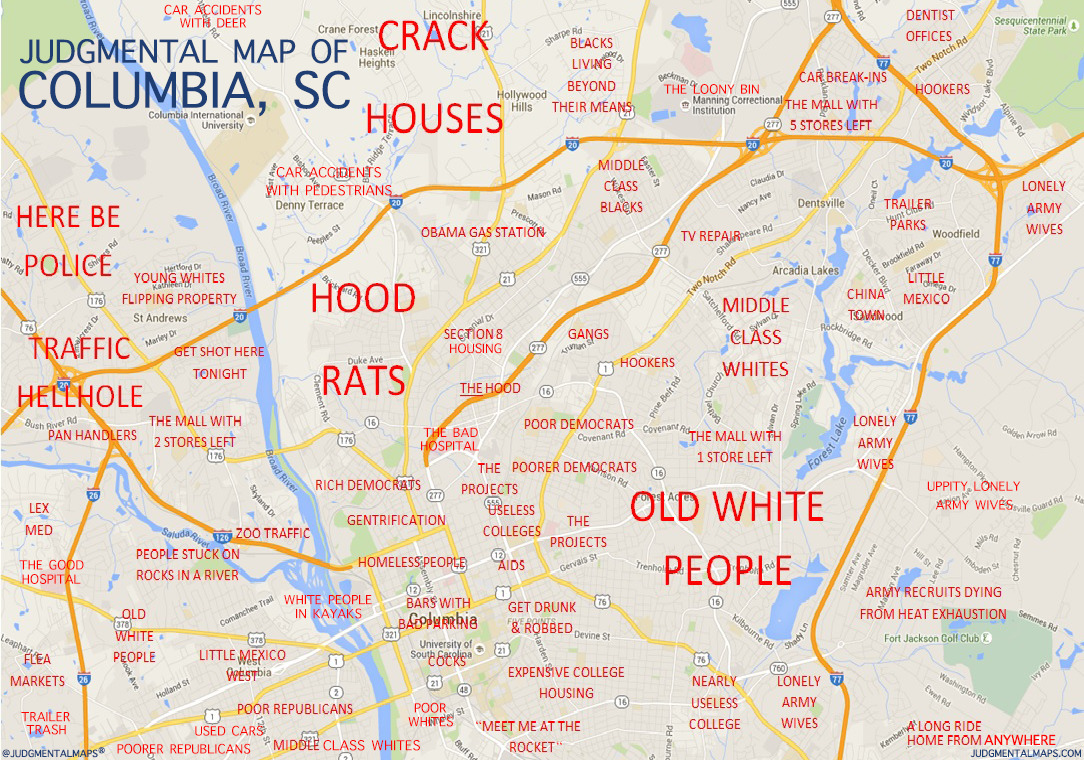 My neighborhood is off the page, just past the top right corner. Not sure what politically incorrect term I'd use to describe it, but it's a pretty diverse collection of folks either just starting out or old fuckers like me just trying to get by...