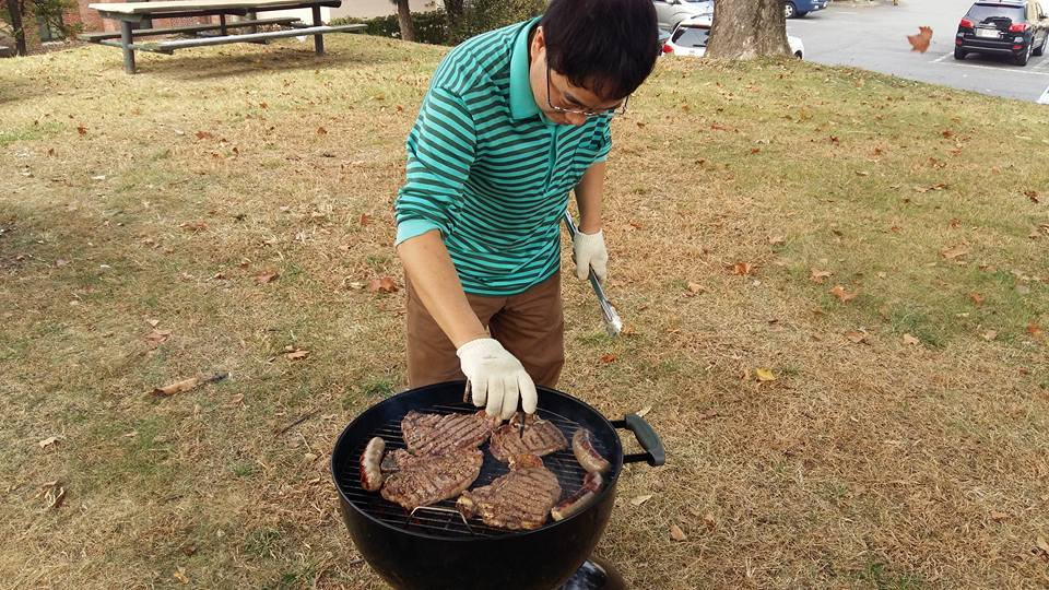Mr. Kang kept a close watch on the steaks until they were grilled to perfection. All we had was plastic cutlery, be we managed to cut the meat into tasty morsels anyway...