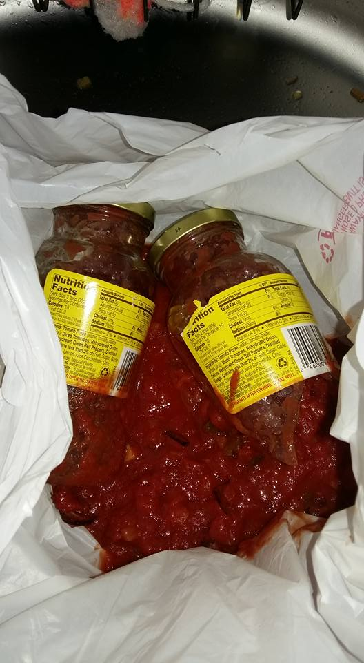 Salsa was on sale today at the commissary.  I bought two.  And dropped them coming through the door when I got home.  That's what being broke looks like I suppose.