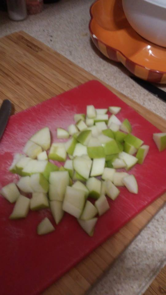 ...while the cans drain I chop up an apple. I prefer a tart granny smith in my fruit salad...