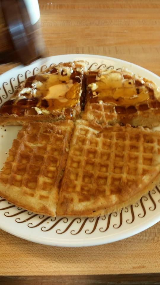 ...and of course a waffle. Jee and I share the breakfast. My half of the waffle is slathered in butter and syrup, she likes hers plain.