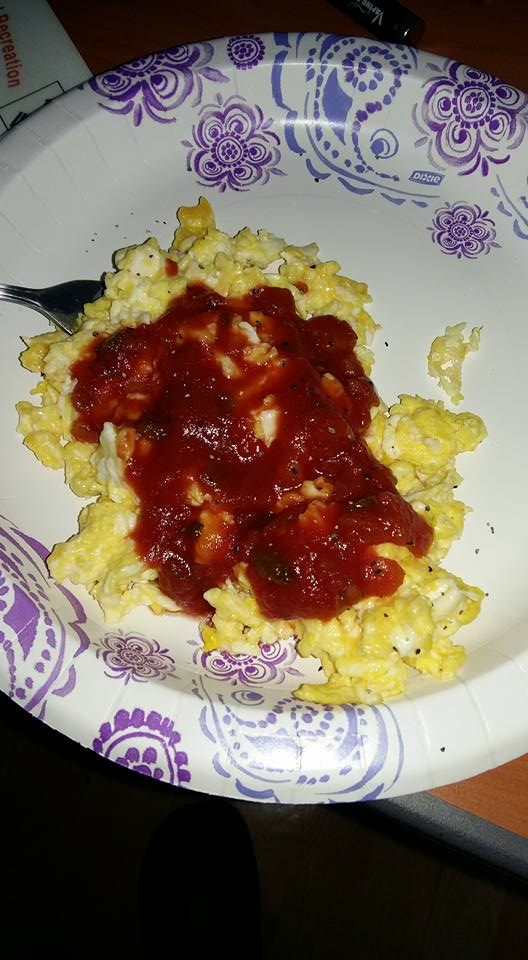 And I rewarded myself this morning with a low carb breakfast of scrambled eggs with shredded cheese and salsa...
