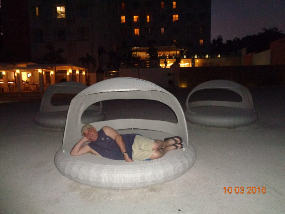 Surprising comfortable beach side lounger...what a hansome man, eh?