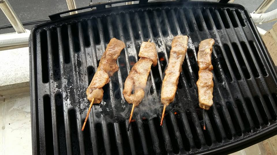 Reached home tired and hungry, so I plopped some chicken on a stick on the grill...