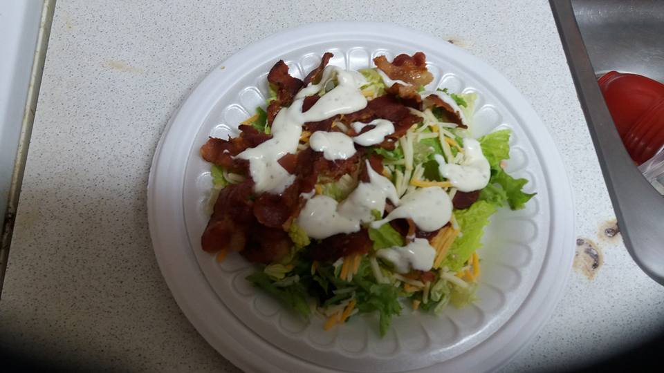 In the meantime, I had time to prepare a lunchtime salad.  Everything is better with bacon!