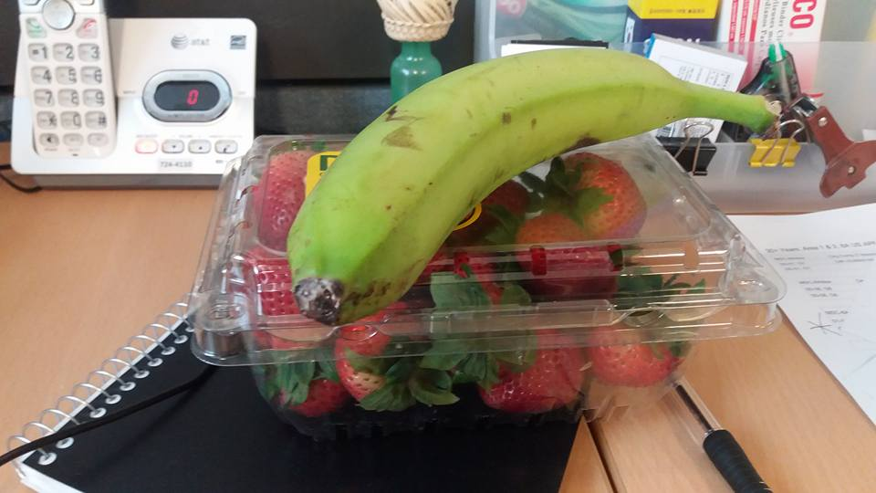 I do my shopping on Wednesday. This week they were out of the fresh California strawberries to which I've grown accustomed. Plus the bagger on Wednesday crushed one of my bananas so I needed a replacement...