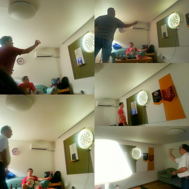 After the meal us menfolk retired to the gaming room and entertained ourselves with a darts match. Me and my partner Tom R. eeked out a victory...