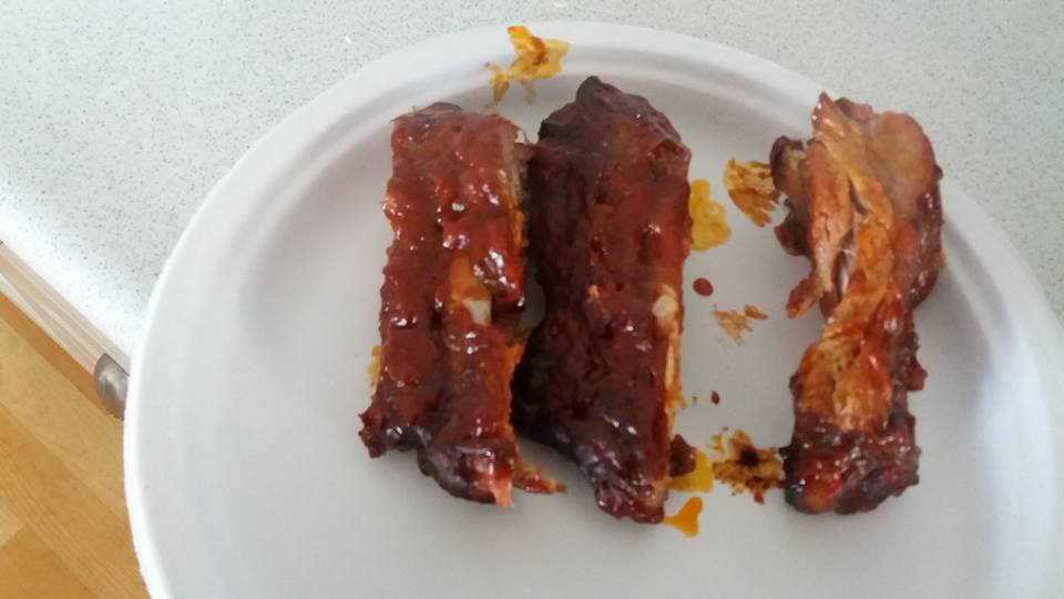 Came home after 3 hot hours and had a spare rib lunch.