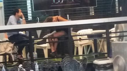 Had lunch at the resto next to my hotel. I had fun watching the girls at the bar across the street getting ready for the work day. This poor gal apparently had a late night and was trying to catch some Zzzz before the customers arrived.
