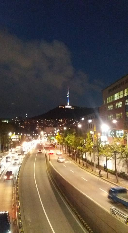 Seoul Tower from the pedestrian overpass at Noksapyeong as I near the end of my hike.